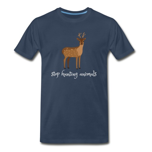 Stop Hunting Animals - Cute Unoffensive Deer - Men's Premium Organic T-Shirt