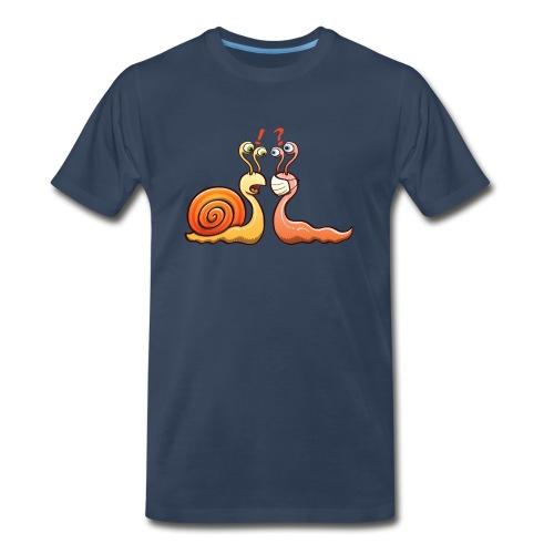 A snail carrying shell meets a slug wearing mask - Men's Premium Organic T-Shirt