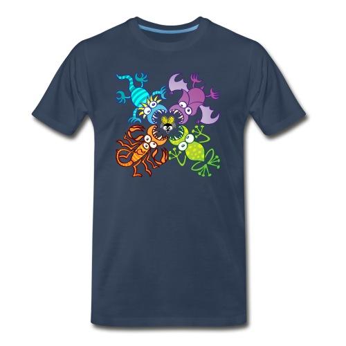 Bat, lizard, scorpion and frog stalking a poor fly - Men's Premium Organic T-Shirt