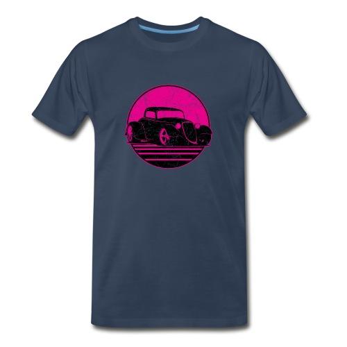 Retro Hot Pink Hot Rod Grungy Sunset Illustration - Men's Premium Organic T-Shirt