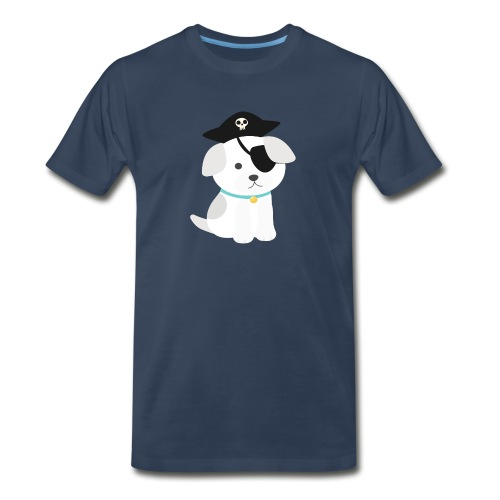 Dog with a pirate eye patch doing Vision Therapy! - Men's Premium Organic T-Shirt