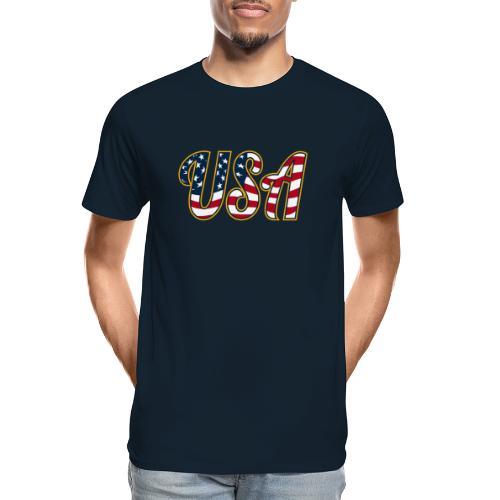 USA Patriotic Red White and Blue Stars and Stripes - Men's Premium Organic T-Shirt