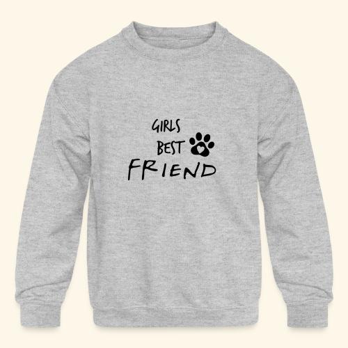 girls best friend Paw Print - Kids' Crewneck Sweatshirt