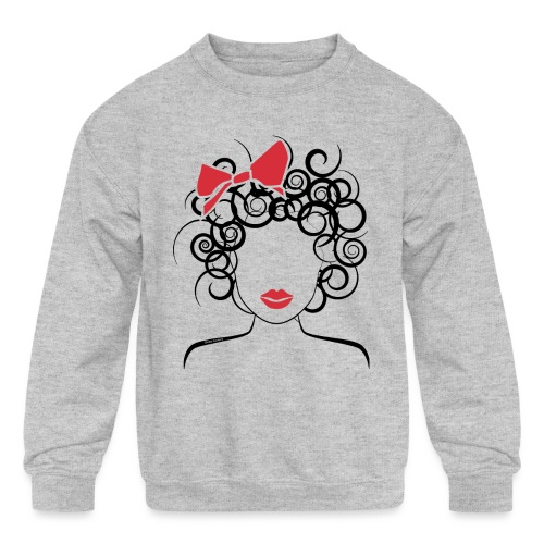 Curly Girl with Red Bow_Global Couture_logo T-Shir - Kids' Crewneck Sweatshirt