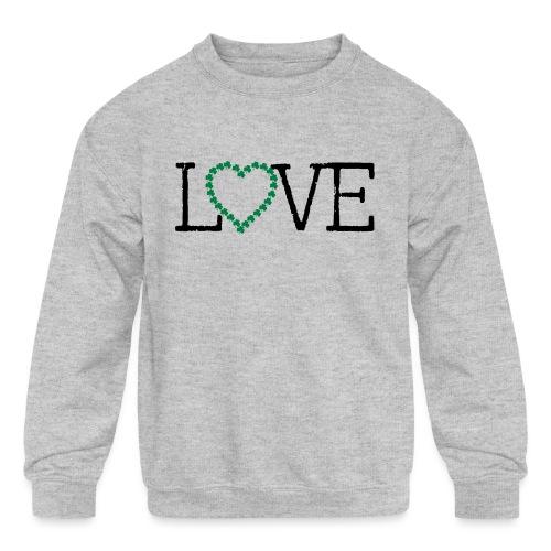 LOVE irish shamrocks - Kids' Crewneck Sweatshirt