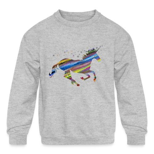 The Majestic Prismatic Streaked Magical Unicorn - Kids' Crewneck Sweatshirt
