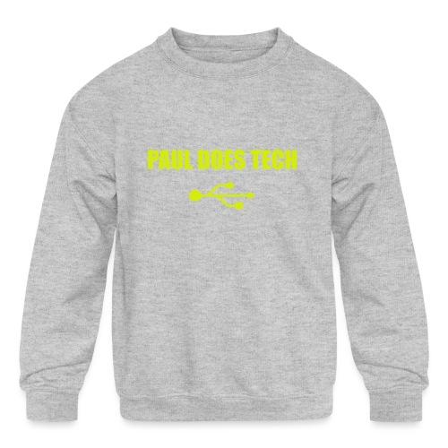 Paul Does Tech Yellow Logo With USB (MERCH) - Kids' Crewneck Sweatshirt