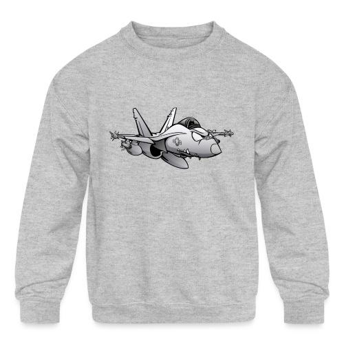 Military Fighter Attack Jet Airplane Cartoon - Kids' Crewneck Sweatshirt