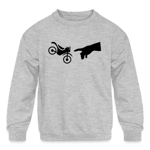 The hand of god brakes a motorcycle as an allegory - Kids' Crewneck Sweatshirt