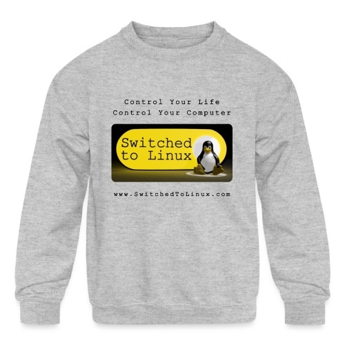 Switched to Linux Logo with Black Text - Kids' Crewneck Sweatshirt