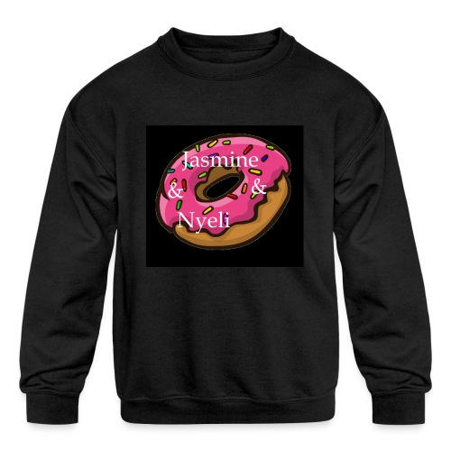 Black Donut W/ Our Channel Name - Kids' Crewneck Sweatshirt