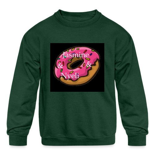 Black Donut W/ Our Channel Name - Kids' Crewneck Sweatshirt