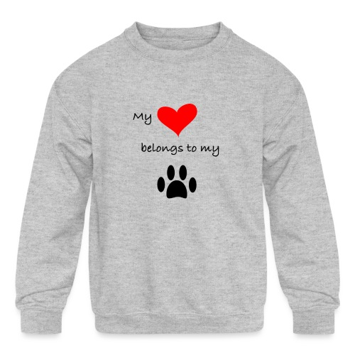 Dog Lovers shirt - My Heart Belongs to my Dog - Kids' Crewneck Sweatshirt