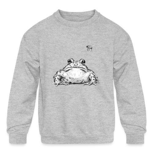 Frog with Fly by Imoya Design - Kids' Crewneck Sweatshirt