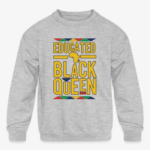 Dashiki Educated BLACK Queen - Kids' Crewneck Sweatshirt