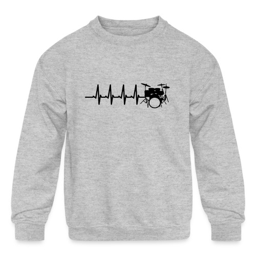 Drums Heartbeat Funny drummer - Kids' Crewneck Sweatshirt