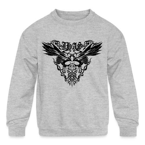 Vintage JHAS Tribal Skull Wings Illustration - Kids' Crewneck Sweatshirt