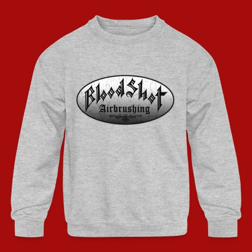 BloodShot Logo Black/White - Kids' Crewneck Sweatshirt
