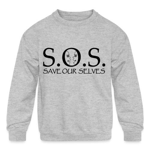 SOS Black on Black - Kids' Crewneck Sweatshirt