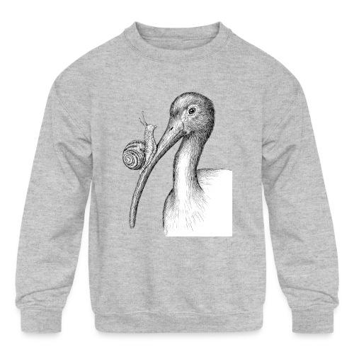 Ibis with Snail by Imoya Design - Kids' Crewneck Sweatshirt