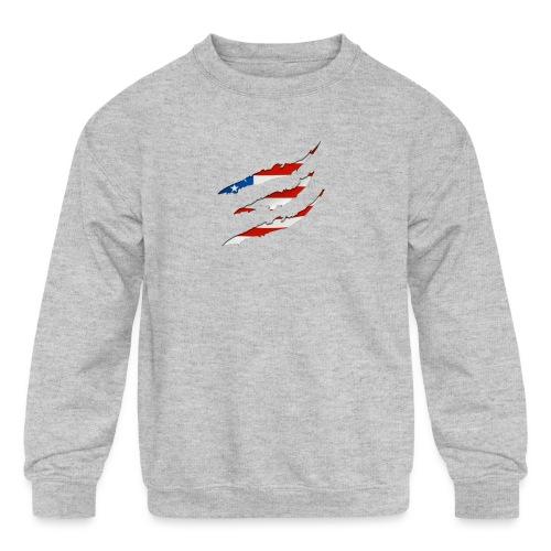 3D American Flag Claw Marks T-shirt for Men - Kids' Crewneck Sweatshirt