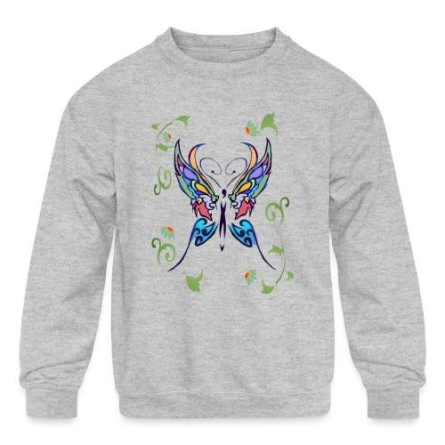 Bright Butterfly - Kids' Crewneck Sweatshirt