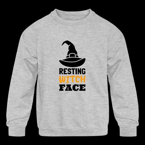 Resting Witch Face   Funny Halloween - Kids' Crewneck Sweatshirt