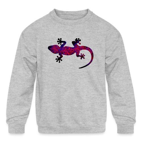 gecko blue red camouflage - Kids' Crewneck Sweatshirt