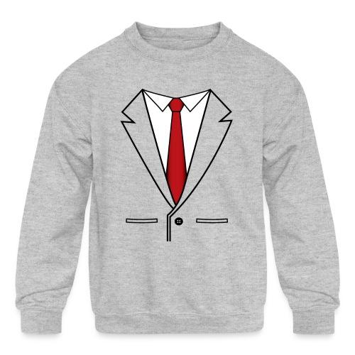 Suit and Red Tie - Kids' Crewneck Sweatshirt