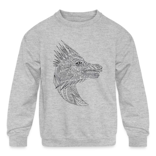 black art deco dragon head - Kids' Crewneck Sweatshirt