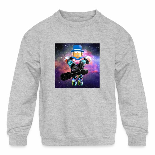 sean roblox character with minigun - Kids' Crewneck Sweatshirt