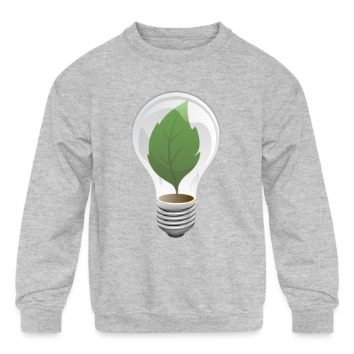 Clean Energy Green Leaf Illustration - Kids' Crewneck Sweatshirt