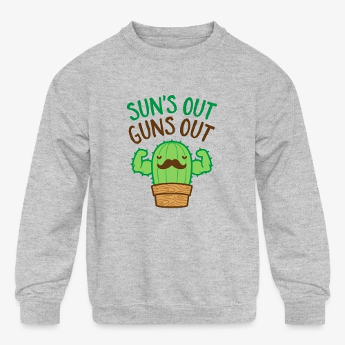 Sun's Out Guns Out Macho Cactus - Kids' Crewneck Sweatshirt
