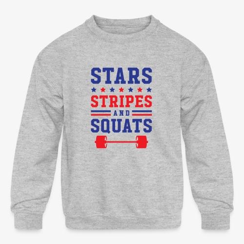 Stars, Stripes And Squats - Kids' Crewneck Sweatshirt