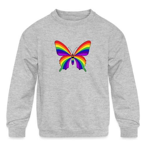 Rainbow Butterfly - Kids' Crewneck Sweatshirt