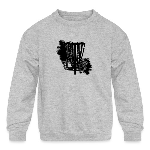 Disc Golf Basket Paint Black Print - Kids' Crewneck Sweatshirt