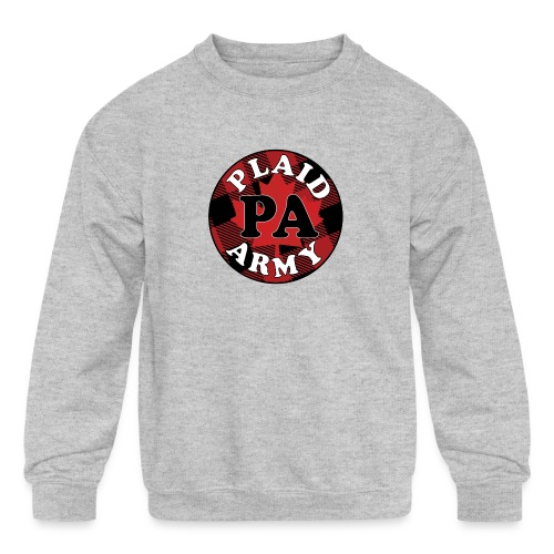plaid army round - Kids' Crewneck Sweatshirt