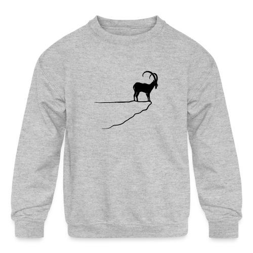 ibex capricorn mountain goat sheep rock climbing - Kids' Crewneck Sweatshirt