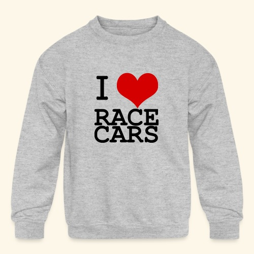 I Love Race Cars - Kids' Crewneck Sweatshirt