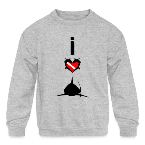 I Love Sharks - Kids' Crewneck Sweatshirt