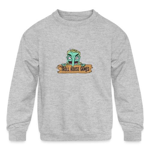 Troll House Games Cartoon Logo - Kids' Crewneck Sweatshirt