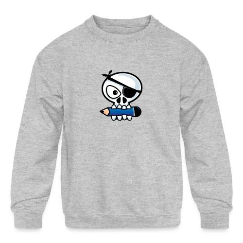 Pirate Old Skull Goes to School - Kids' Crewneck Sweatshirt