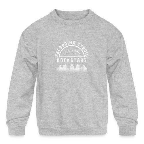 Recording Studio Rockstars - White Logo - Kids' Crewneck Sweatshirt
