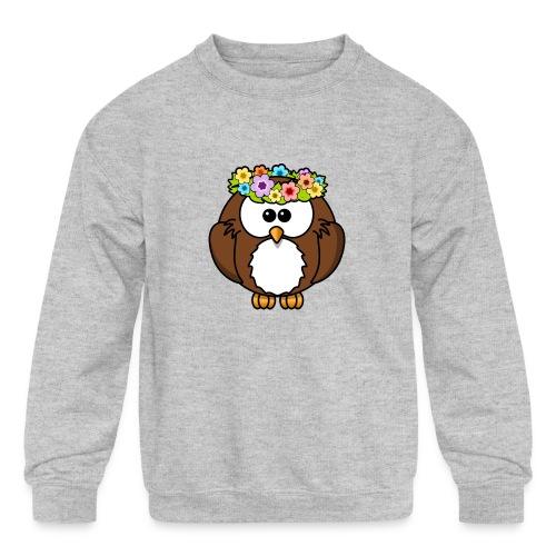 Owl With Flowers On Head T-Shirt - Kids' Crewneck Sweatshirt
