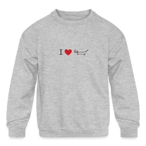 I love Dachshund - Kids' Crewneck Sweatshirt