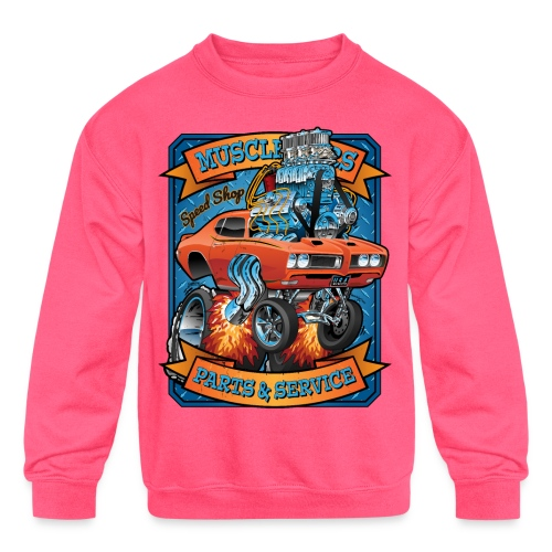 Classic Sixties Muscle Car Parts & Service Cartoon - Kids' Crewneck Sweatshirt