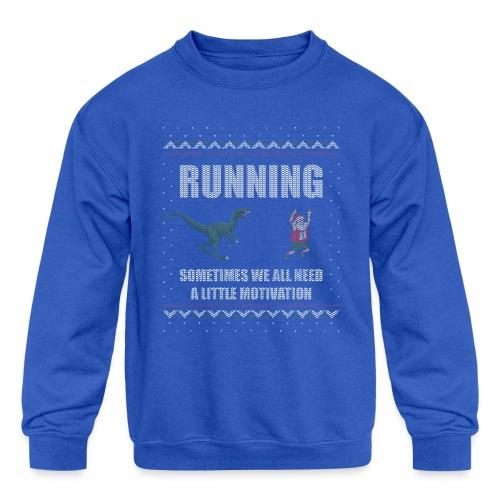Ugly Christmas Sweater Running Dino and Santa - Kids' Crewneck Sweatshirt