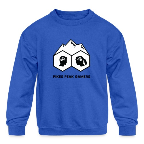 Pikes Peak Gamers Logo (Solid White) - Kids' Crewneck Sweatshirt