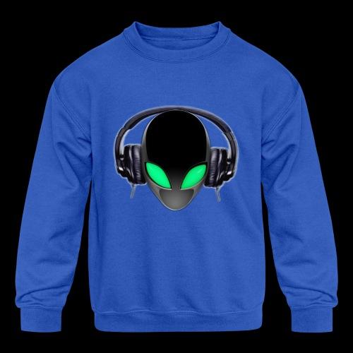 Alien Music Lover DJ (Simplified Fit All Design) - Kids' Crewneck Sweatshirt