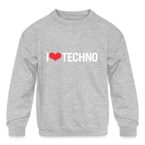 I Love Techno - Kids' Crewneck Sweatshirt